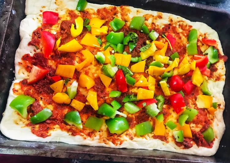 Recipe of Quick Veggie Loaded pizza with homemade dough