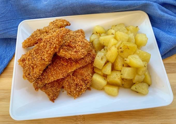 Pollo croccante al forno con patate ai semi di finocchio