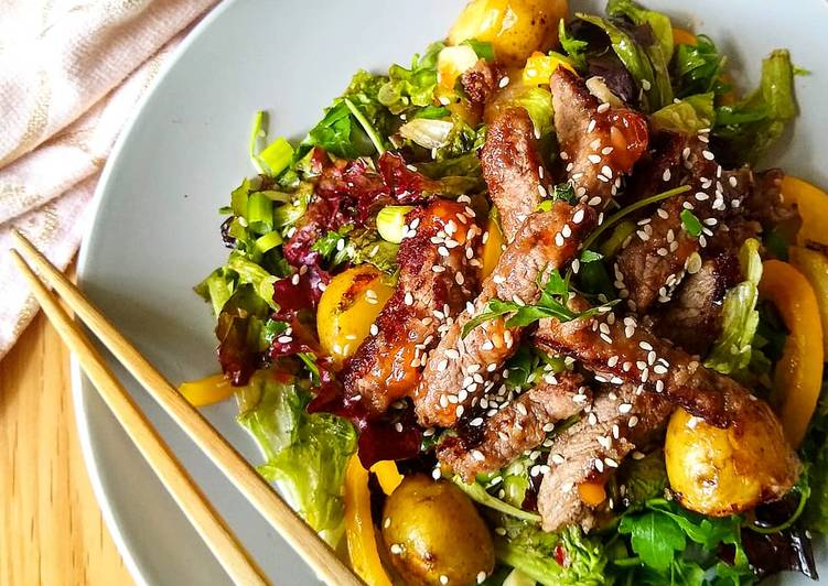 Crispy Sweet Chilli Beef Salad with Jersey Royals