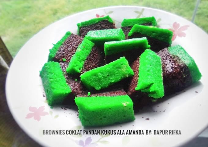 Brownies coklat pandan kukus ala Amanda