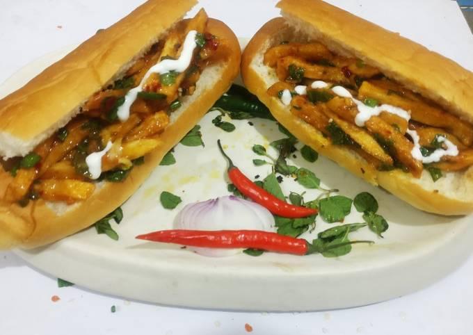 French fries burger in Achari Mayonnaise