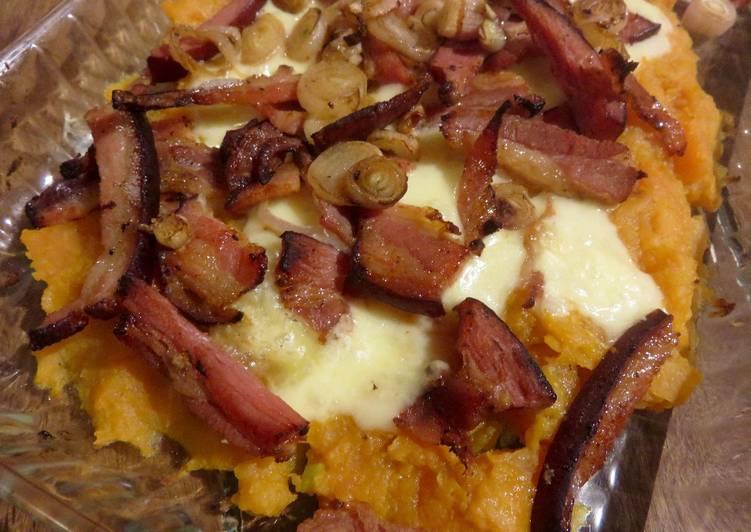 Gratin de patate douce aux lard et au fromage