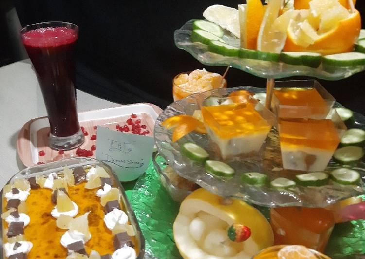 Pomegranate juice and orange trifle