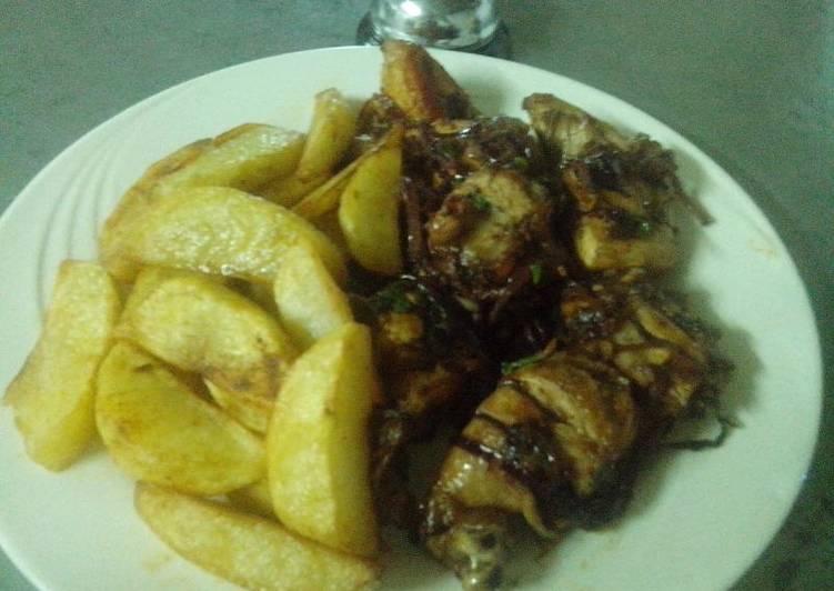 Roasted potatoes and fried pork