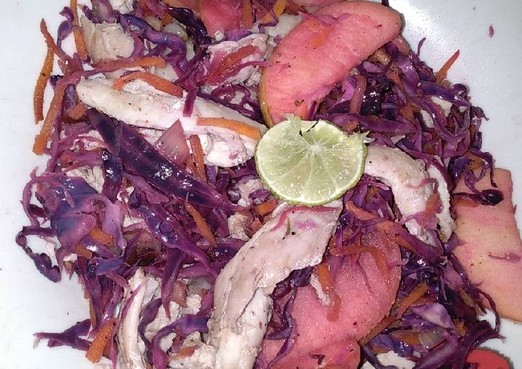 Steps to Prepare Ultimate Red cabbage apple chicken salad