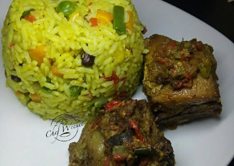 Fried rice and Baked Chicken