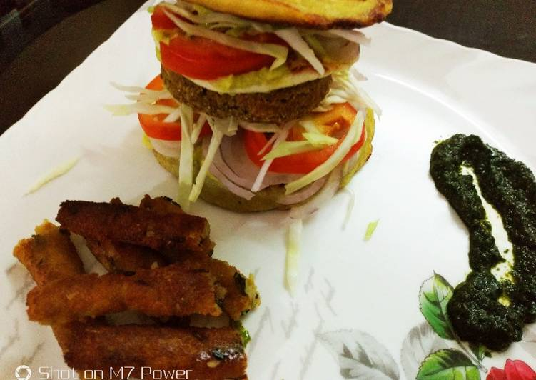 Recipe: Tasty Semolina Avocado cake  veg burger with dal tikki  and stick