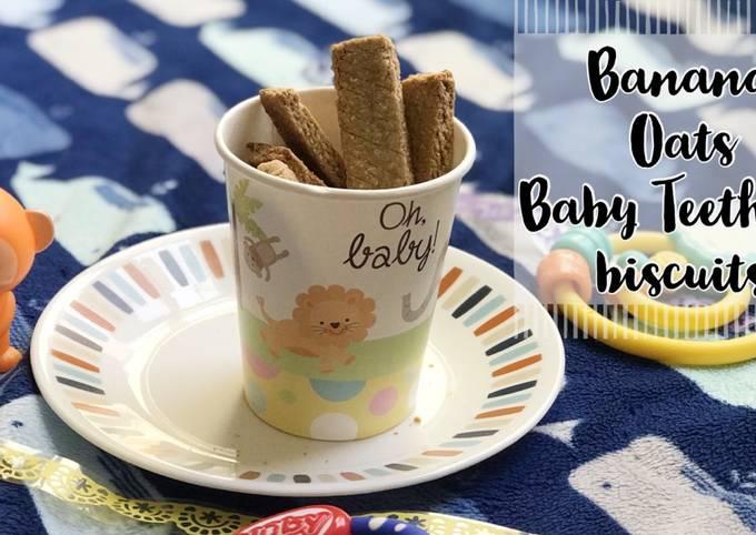 No sugar oats banana teething biscuits