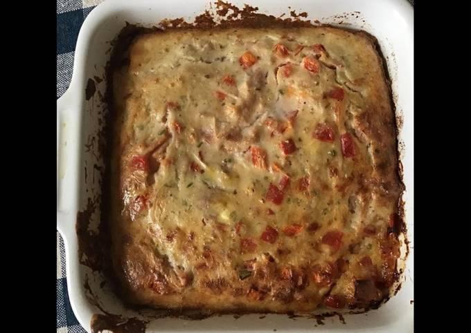 Clafoutis jambon blanc poivrons rouges ciboulette et pecorino