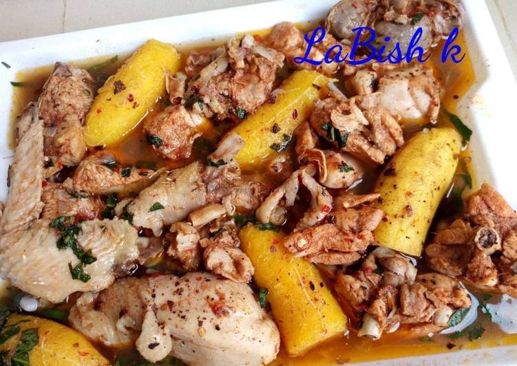 10 Minute How to Prepare Royal Chicken peppersoup with plantain