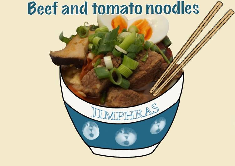 Recipe: Yummy Beef & Tomato Noodles