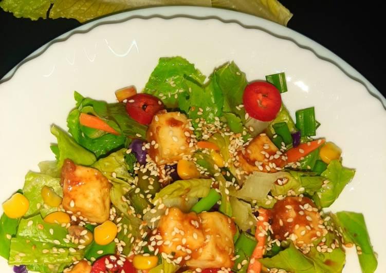 Paneer salad with teriyaki sauce