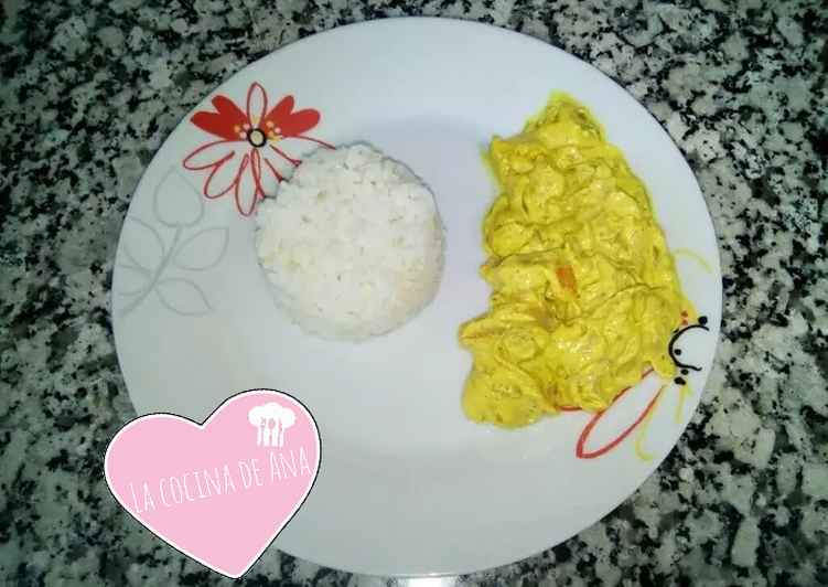 arroz blanco con champinones y nata