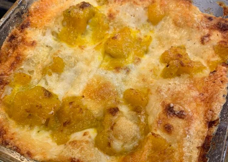 Pumpkin pie and Montasio DOP