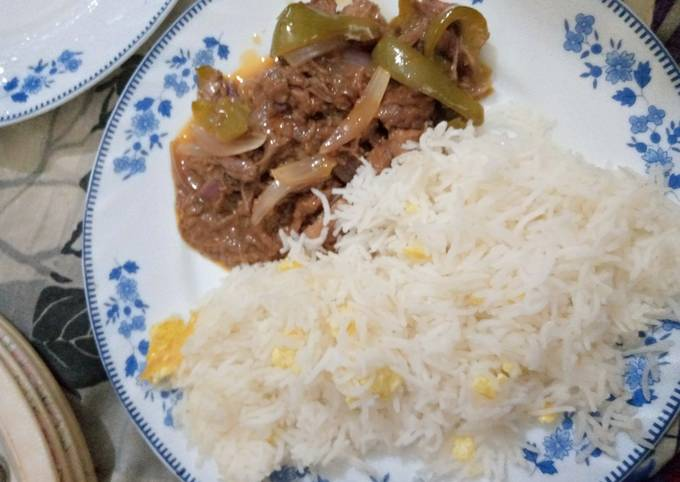 Beef dry chilli with egg fried rice
