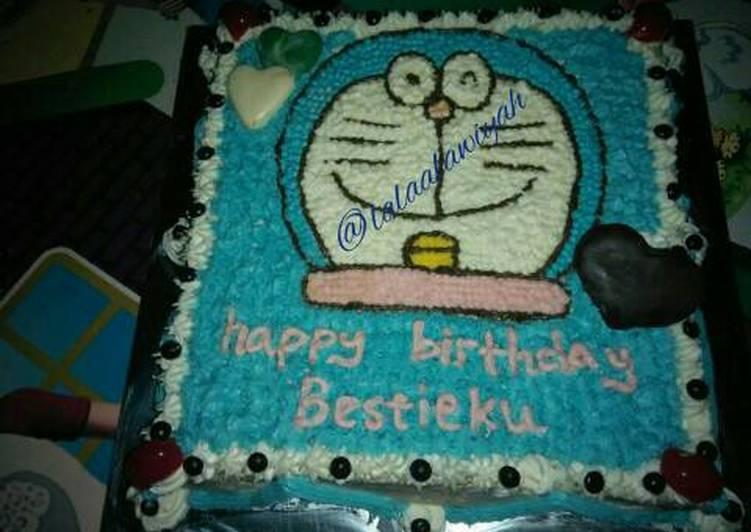 Birthday Cake Doraemon (panggang & kukus) - cookandrecipe.com