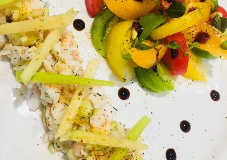 Recette: Savoureux Tartare de Gambas à la Pomme Granny Smith et Salade Tomates colorées