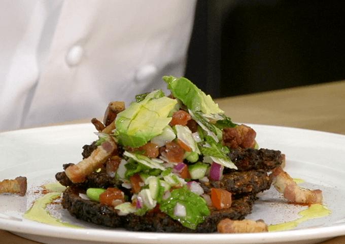 Quinoa-Kale pancakes with vegetable relish recipe