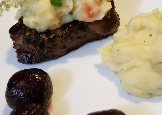 Strip Steak & Crabmeat Mashed Potatoes with Beets