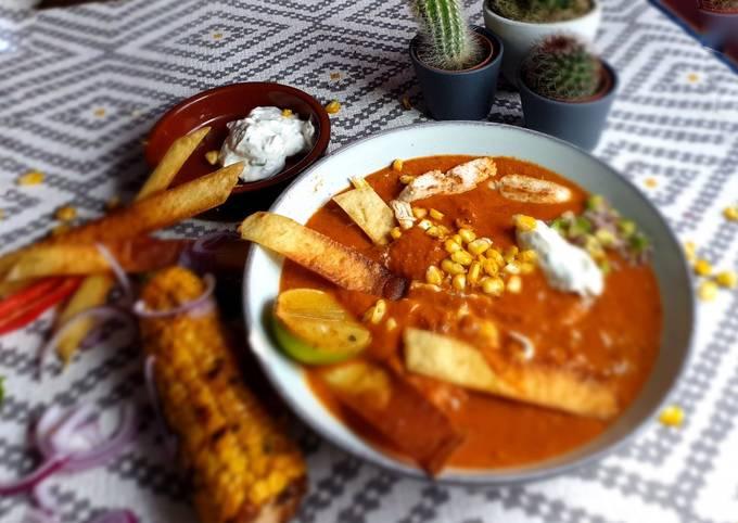 Tortilla Soup with Chipotle Chilli, Tomato & Avocado