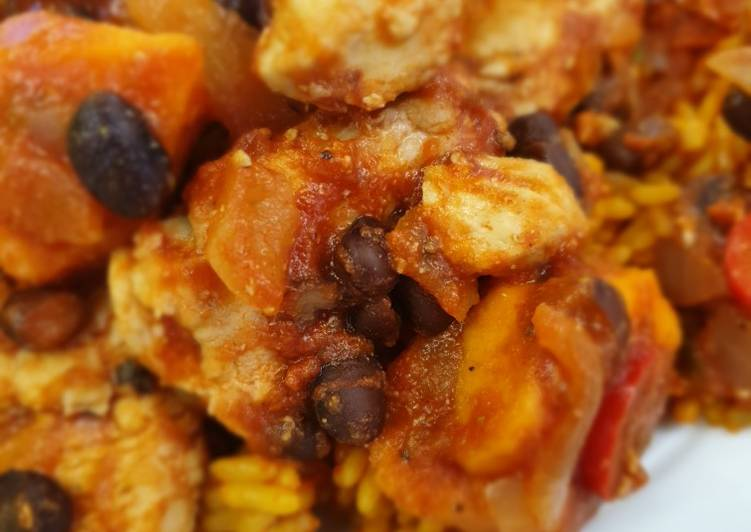 Mexican chicken, sweet potato and black bean