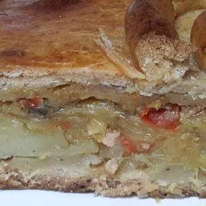 Empanada de patata, puerro y bacon (en MCC)