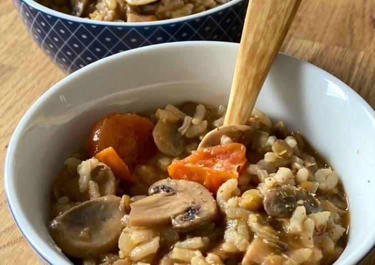 Ricetta Minestra di lenticchie, riso e funghi