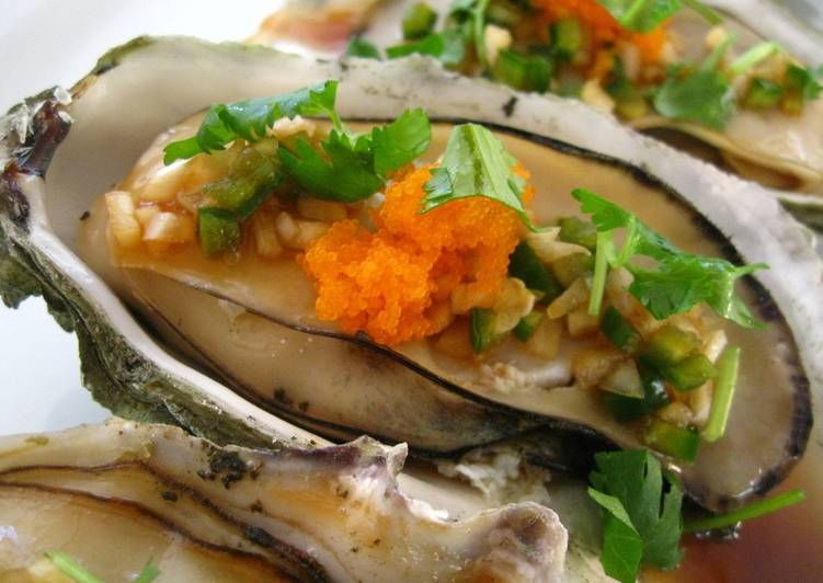 Steps to Prepare Super Quick Homemade Oysters with Jalapeño Ponzu Shoyu