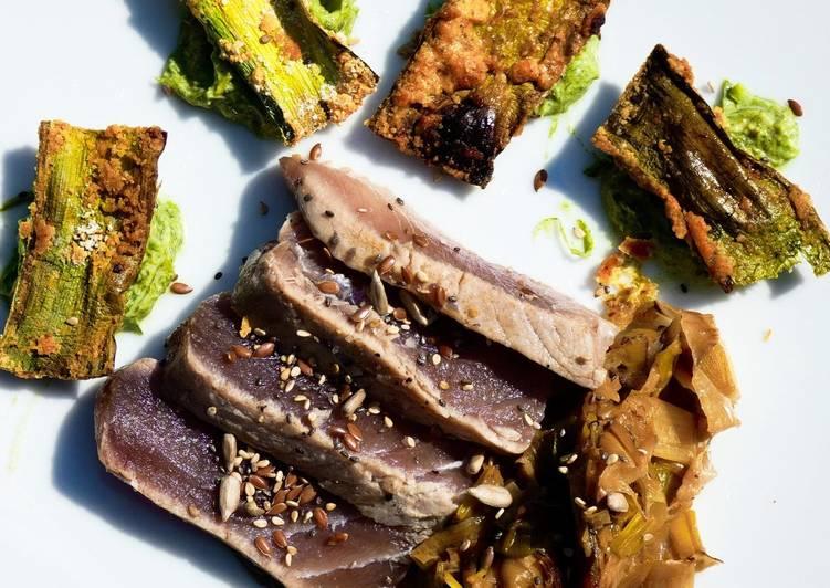 Le moyen le plus simple de Préparer Savoureux Déclinaison de poireau et mi cuit de thon