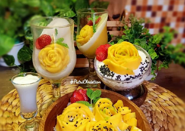 Rose Mangoes sticky Rice and Pudding