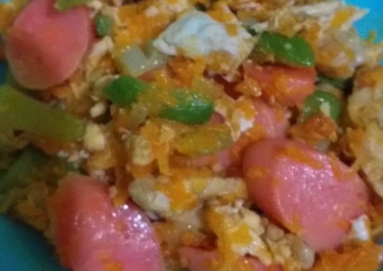 Tumis labu, tempe, telur dan sosis buat ank 1th +