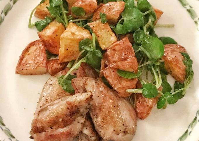 Sous vide quail breasts with warm potato and watercress salad
