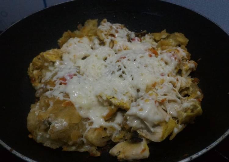 Ayam geprek keju mozza