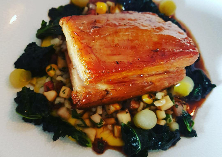 Having This 15 Superfoods Is A Great Way And Be Healthy, Apple glazed braised Pork belly with fricasse of sweetcorn, lardons and fregola pasta