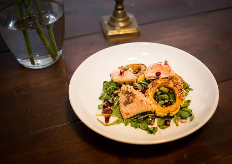 Delicata Squash Salad w/ Roasted Salmon