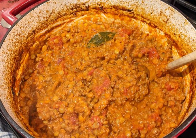 Dutch Oven Meat and Lentil Sauce