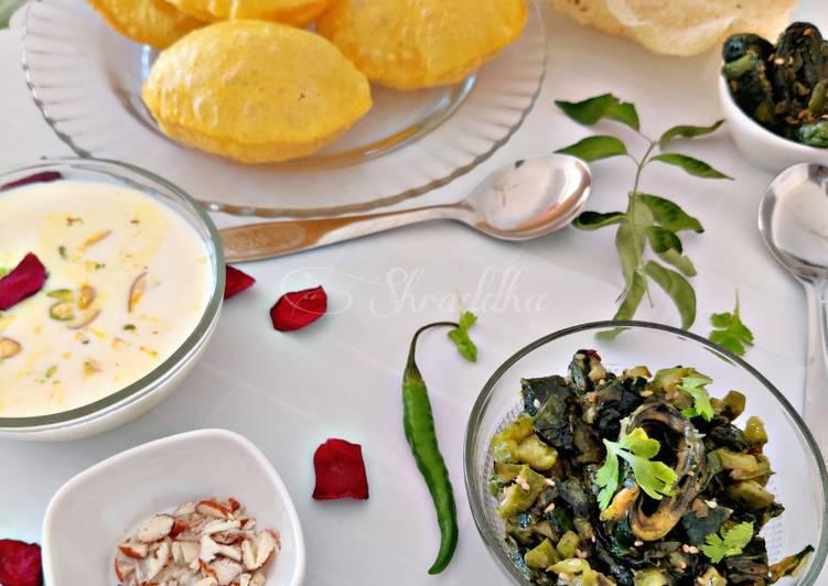 50+ Dinner Easy Ultimate Turiya patra with poori and basundi