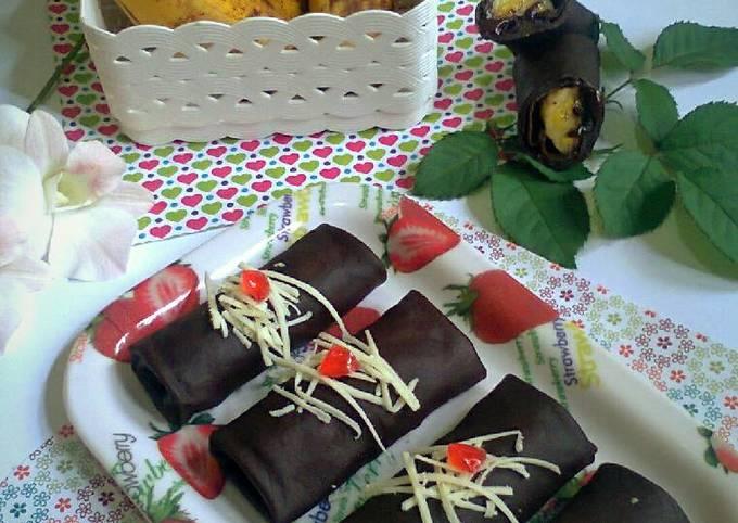 Langkah Mudah Membuat Dadar Gulung Coklat Isi Pisang Coklat…