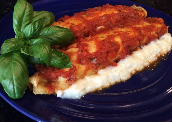 Recipe: Yummy Three Cheese, Spinach and Ham Cannelloni