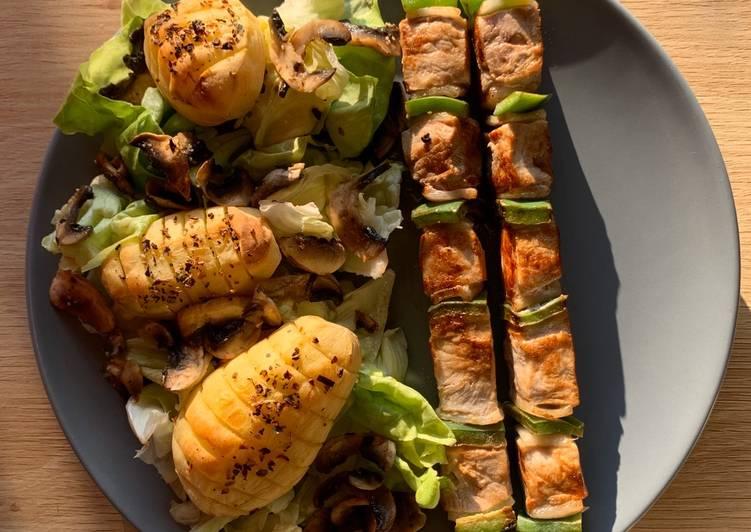 recette Pommes de terre et brochettes délicieux