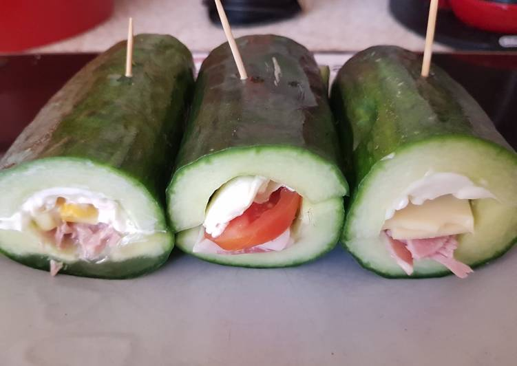 Step-by-Step Guide to Prepare Quick Stuffed Cucumber Sandwiches 🤗