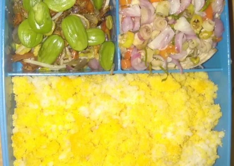Ayam suwir sambal matah,klotok Pete dan nasi jagung