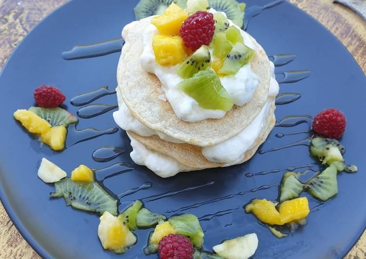 Recette Des #fluffypancakes proteinées la mousse de fruits 🥭🥝🍌