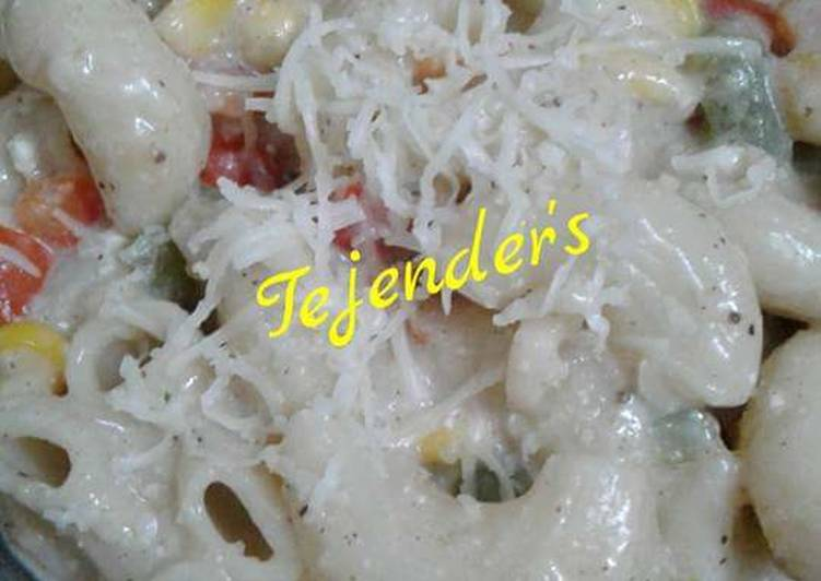 15 Minute Recipe of Summer CORN & CHEESE ELBOW PASTA In healthy white sauce(No Maida)
