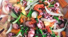 Hình ảnh món Mực xào dứa, hành tây tỏi tây