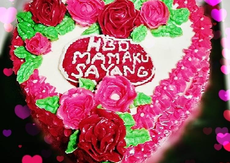 Resep Kue Ulang Tahun Love Mawar Oleh Nabila Amira Cookpad