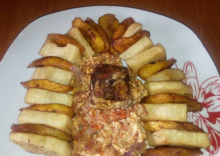 The Best Dinner Ideas Vegan Fried Yam/Ripe plantain,egg sauce and fried mackerel fish