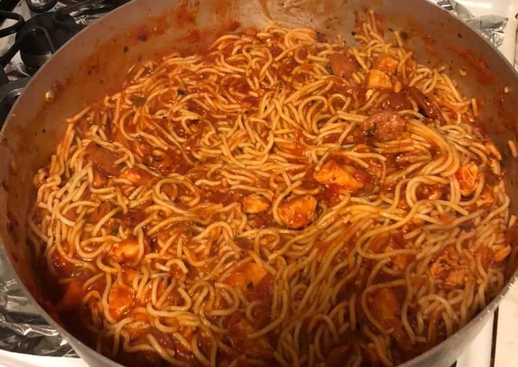 Recipe of Award-winning Cajun Chicken and Sausage Spaghetti