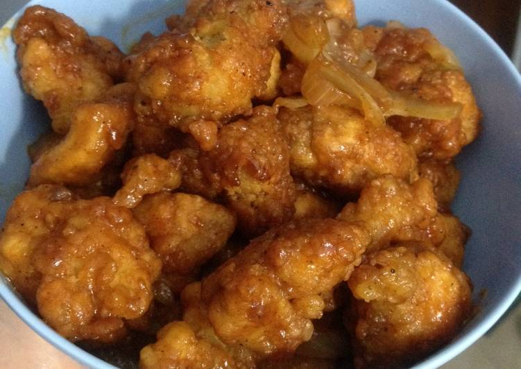 Ayam pop corn with barbecue sauce