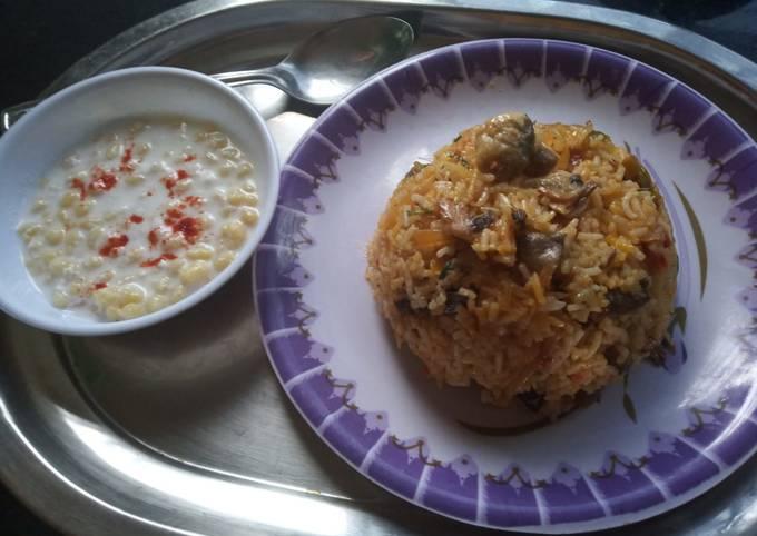Mushroom Biryani with Boondi Raita